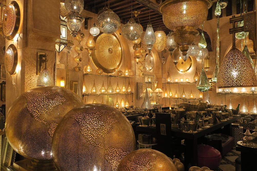 Various forms of brass lamps at Miloud el Jouli