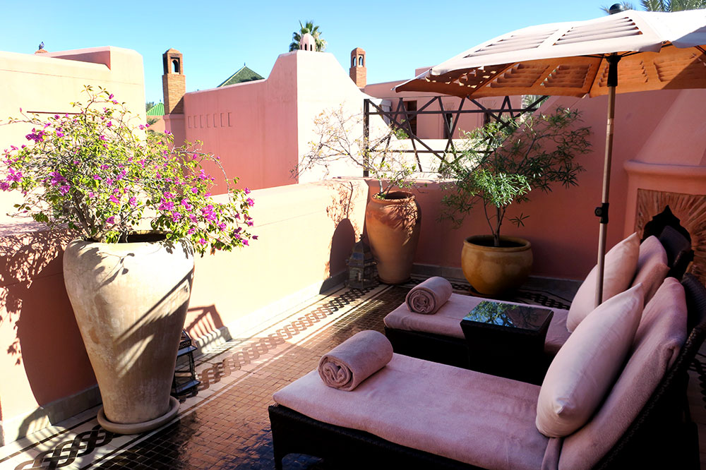 The roof terrace of our Premier Riad at Royal Mansour