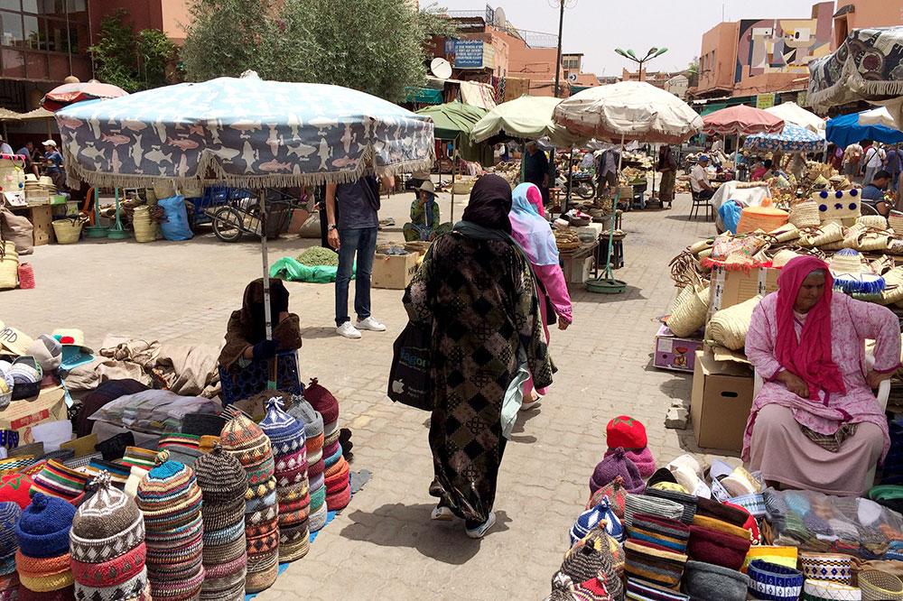Vendors at a souk in Marrakech