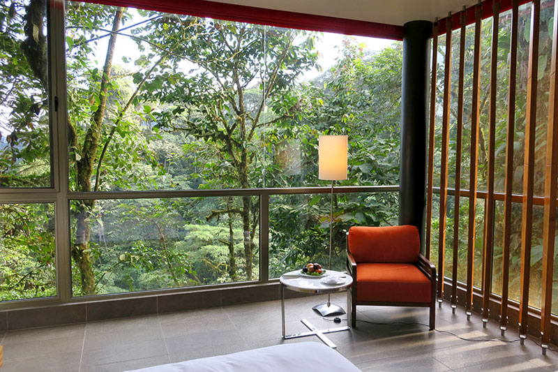 View from our Wayra King Room at Mashpi Lodge - Photo by Hideaway Report editor
