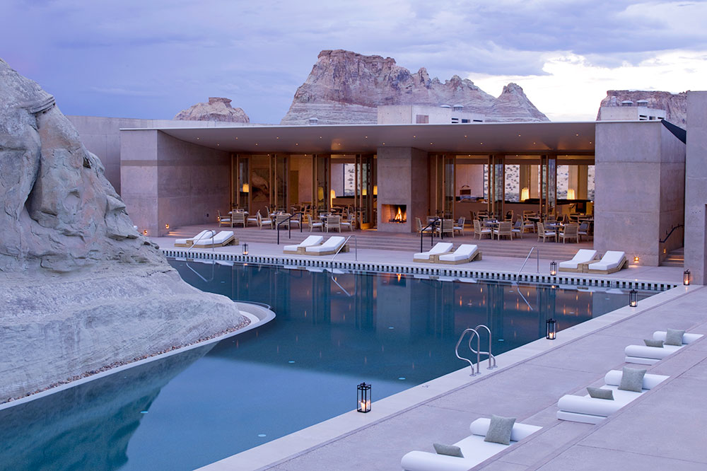 Amangiri's sandstone swimming pool and mesa-inspired pavilion