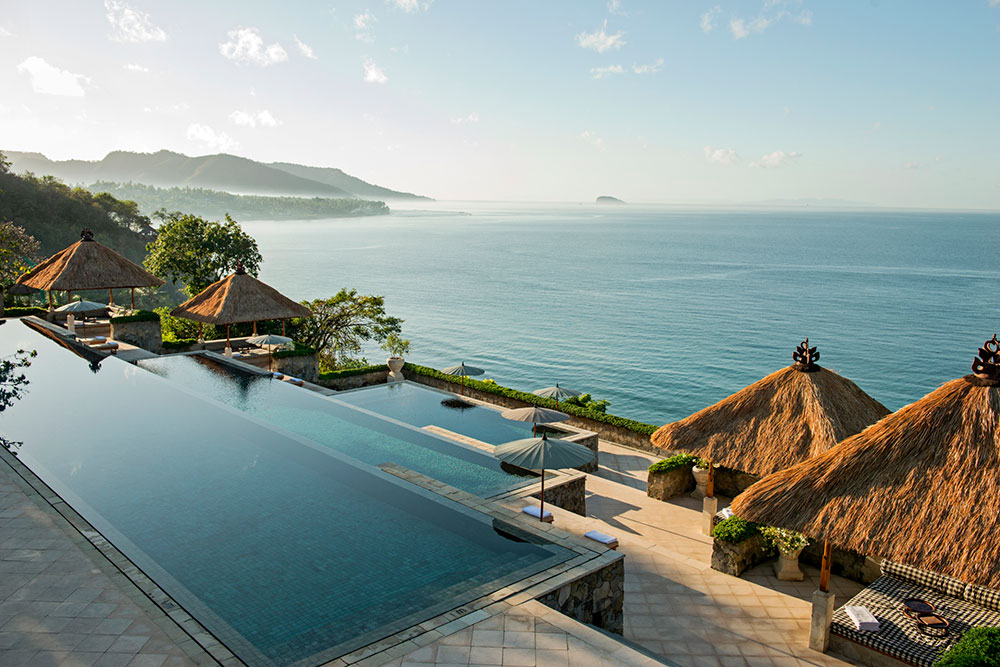 The pool at Amankila overlooking the Lombok Strait