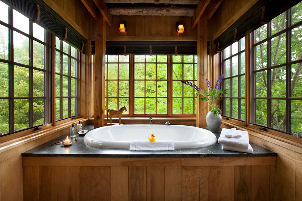 The Maple room bath in the Farmhouse at Copper Hill at Twin Farms