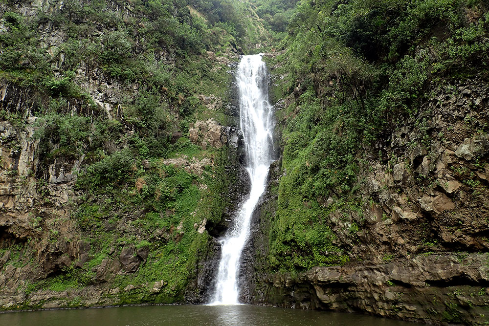 Mo'oula Falls at Halawa Valley, Molokai