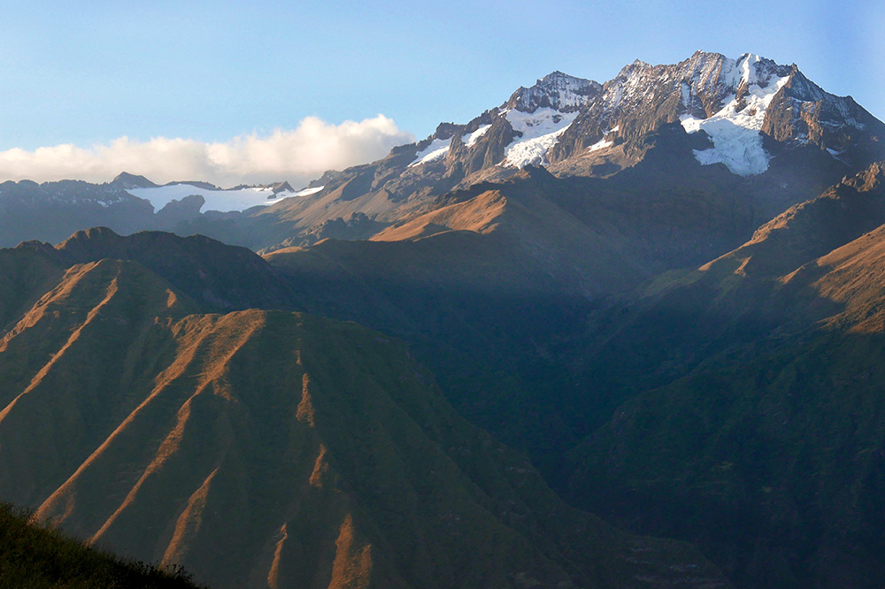 Snow-covered mountain peaks seen from our hike in the Sacred Valley, Peru - Photo by Hideaway Report editor