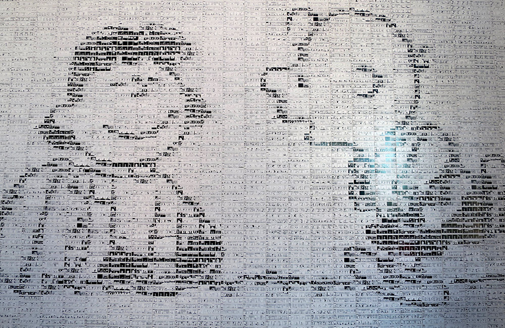 "A mural created from ""Peanuts"" comic strips at the Schulz Museum"
