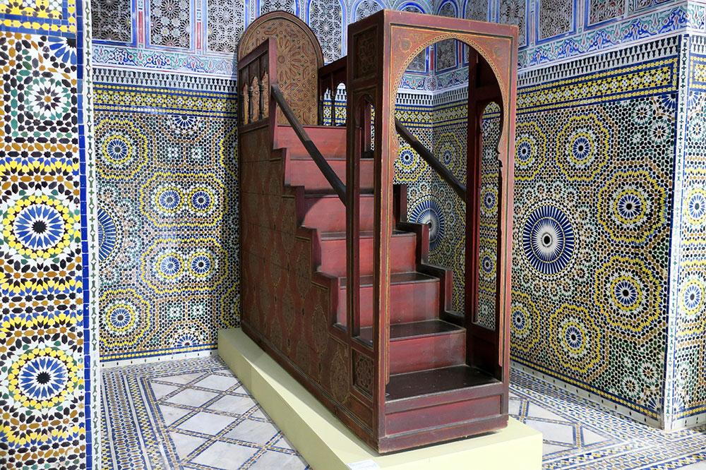 A minbar, or a mosque pulpit, at the Dar el Bacha-Musée des Confluences
