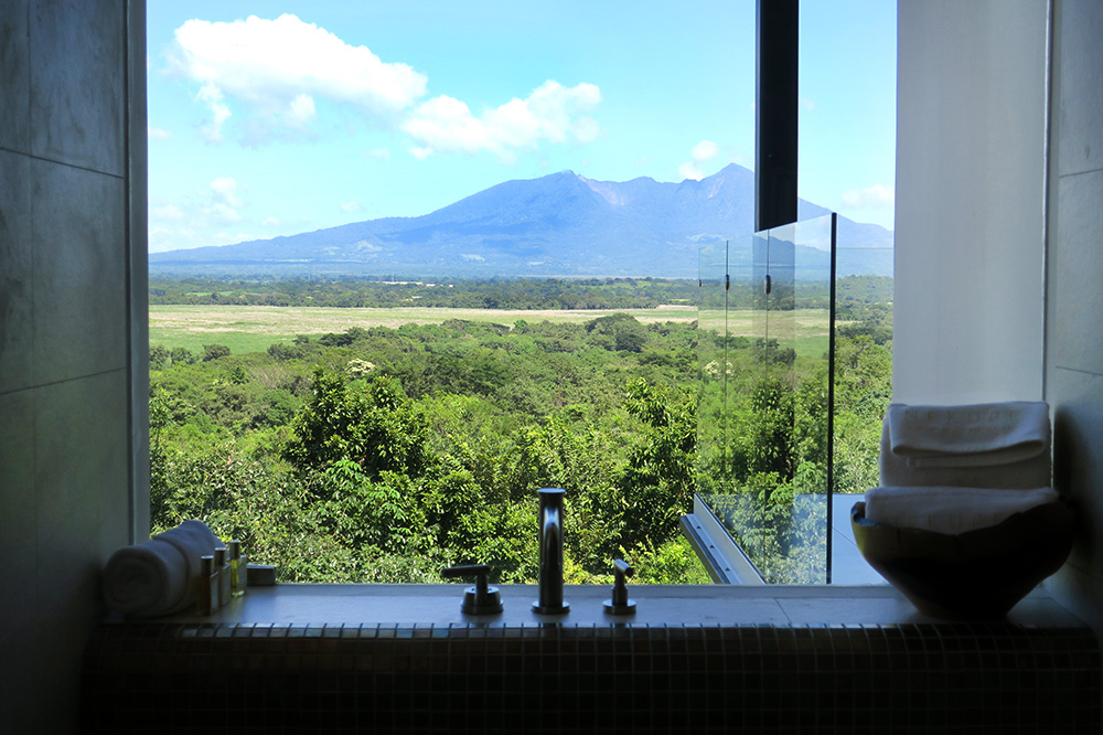 The view of Mombacho Volcano from the bath of our JR Villa at Nekupe