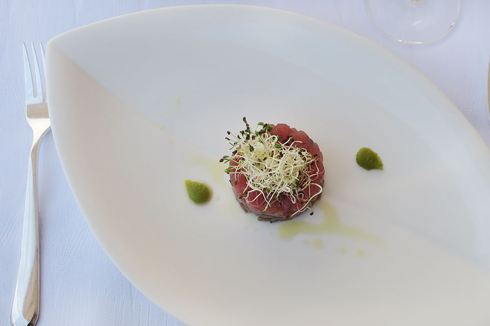 Tuna tartar with garlic sprouts and wasabi from <em>Nautika Restaurant</em> in Dubrovnik, Croatia