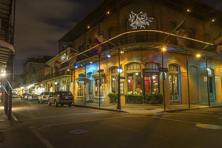 Typical architecture of New Orleans' French Quarter.