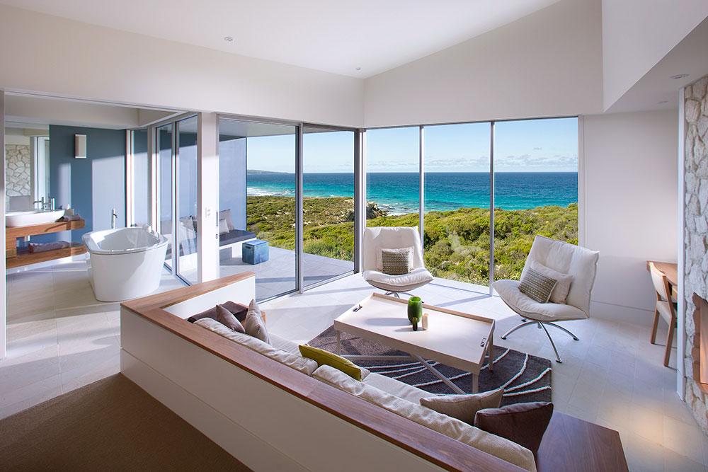 Ocean Retreat interior at Southern Ocean Lodge