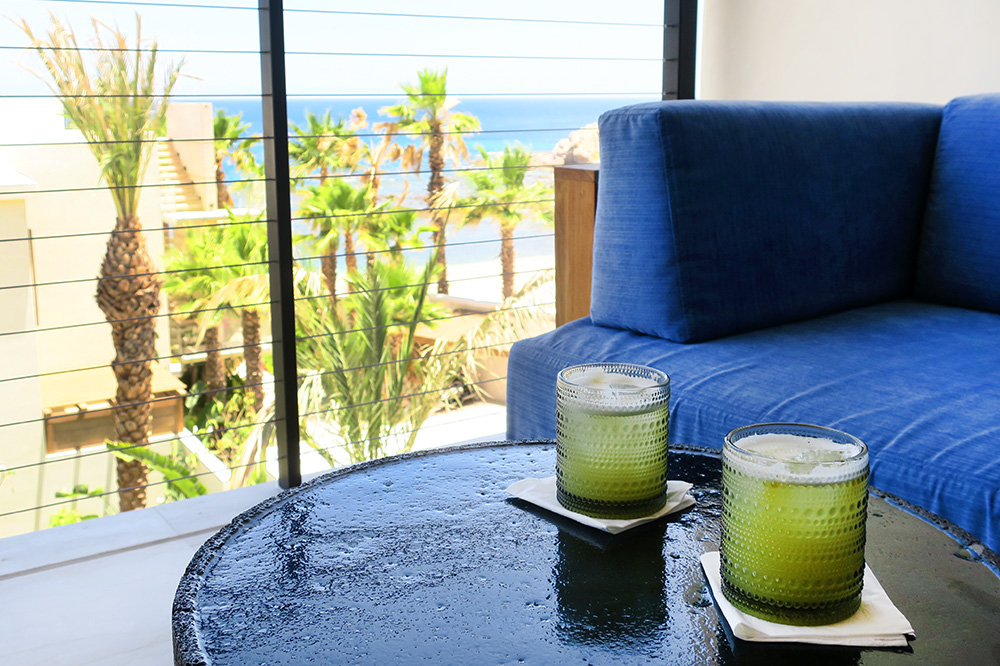 Chilenito cocktails on the balcony of our Ocean View Room at Chileno Bay Resort in Los Cabos, Mexico