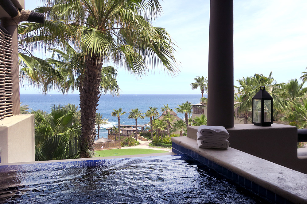 The small infinity hot tub of our Oceanview Terrace Spa Casita at Esperanza in Los Cabos, Mexico