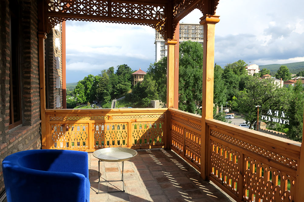 The terrace off our Orange Room at Hotel Erekle II