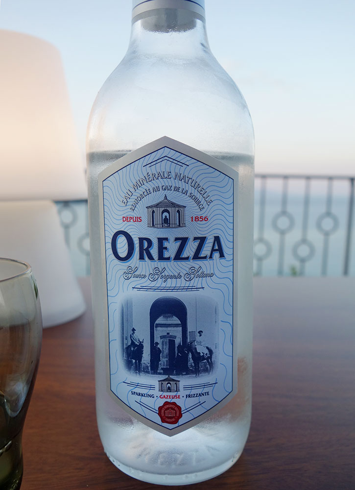 Orezza mineral water from Corsica, France - Photo by Hideaway Report editor