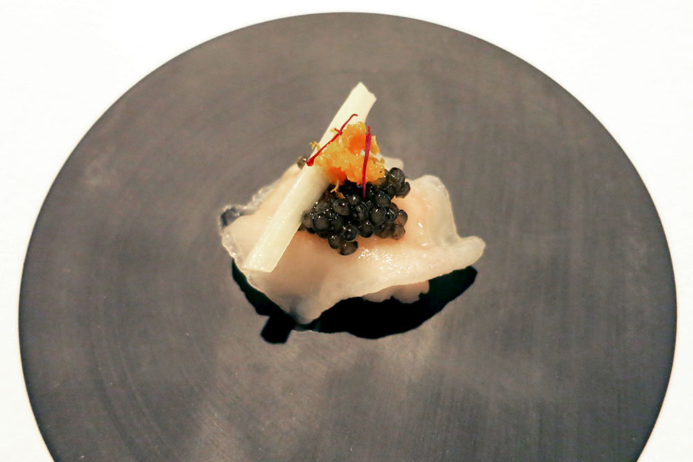 Langoustine with rich lardo, briny Kristal caviar and white asparagus <em>Oriole</em>