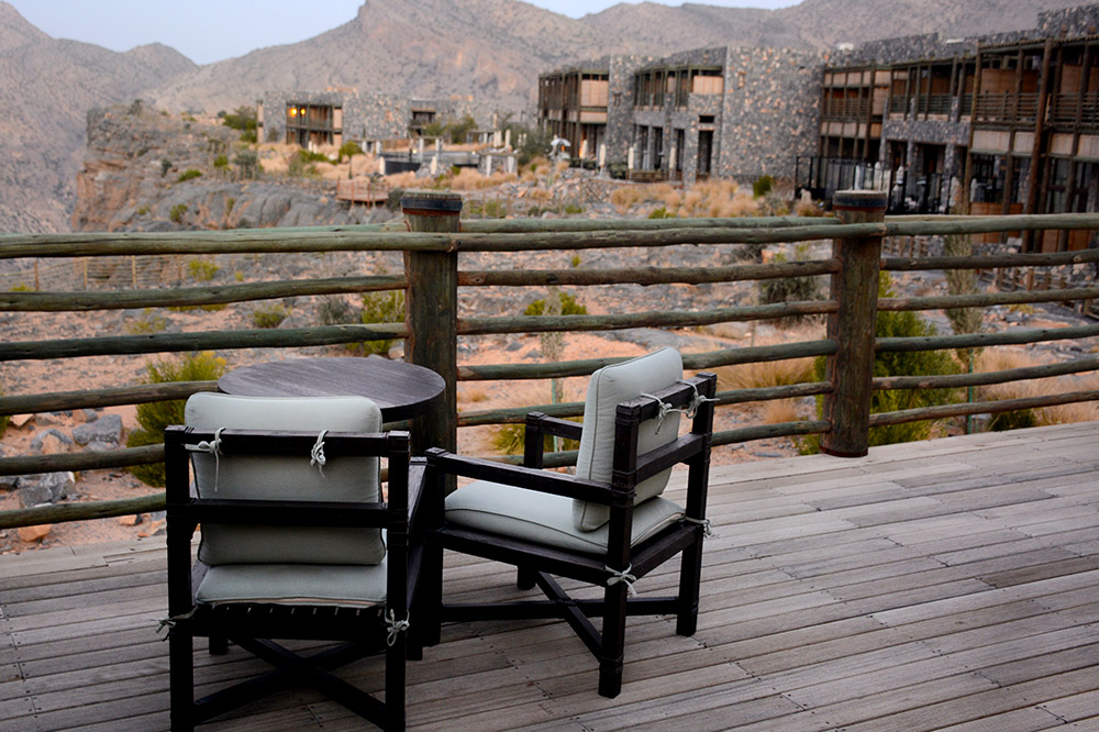The private terrace off our bedroom at Alila Jabal Akhdar, Nizwa, Oman - Photo by Hideaway Report editor