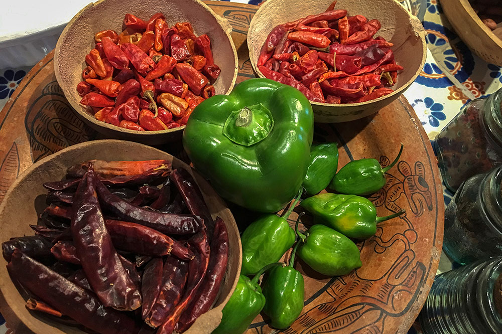 Peppers used at Los Dos cooking school in Mérida, Mexico - Los Dos cooking school