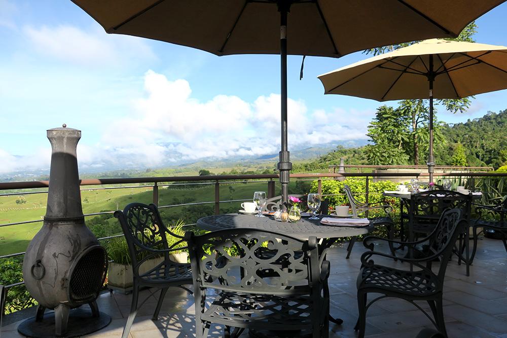 The patio off <em>Ambar</em> restaurant at Hacienda AltaGracia