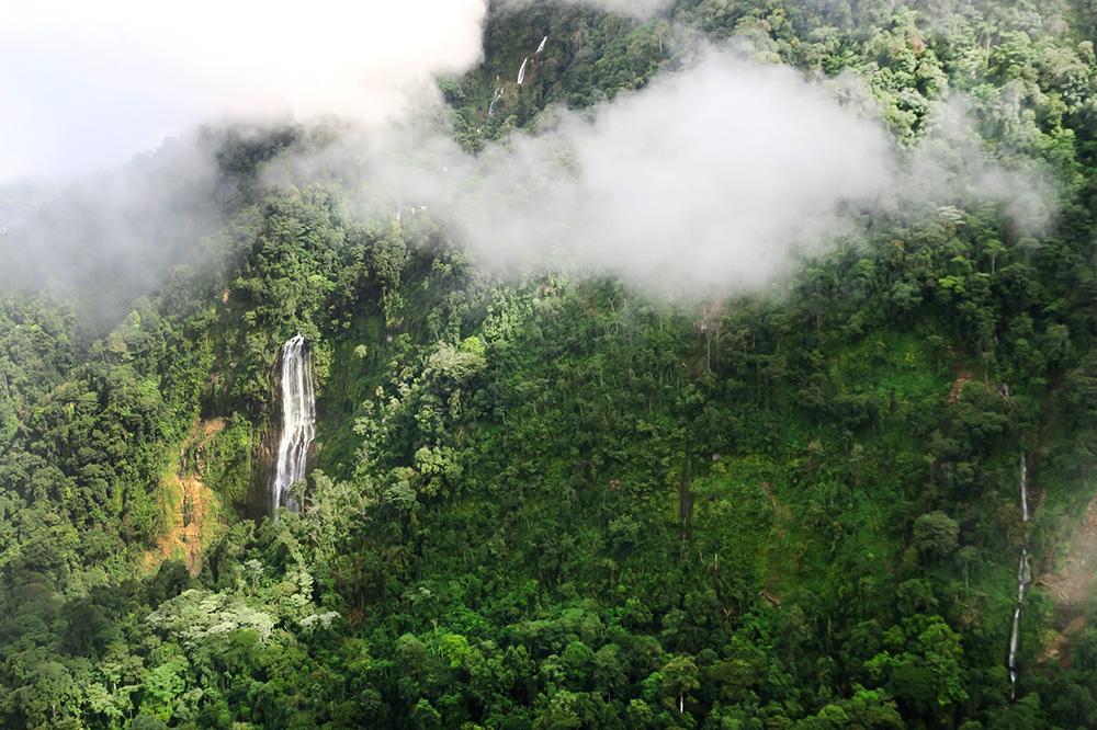 Waterfalls seen from an ultralight plane at Hacienda AltaGracia