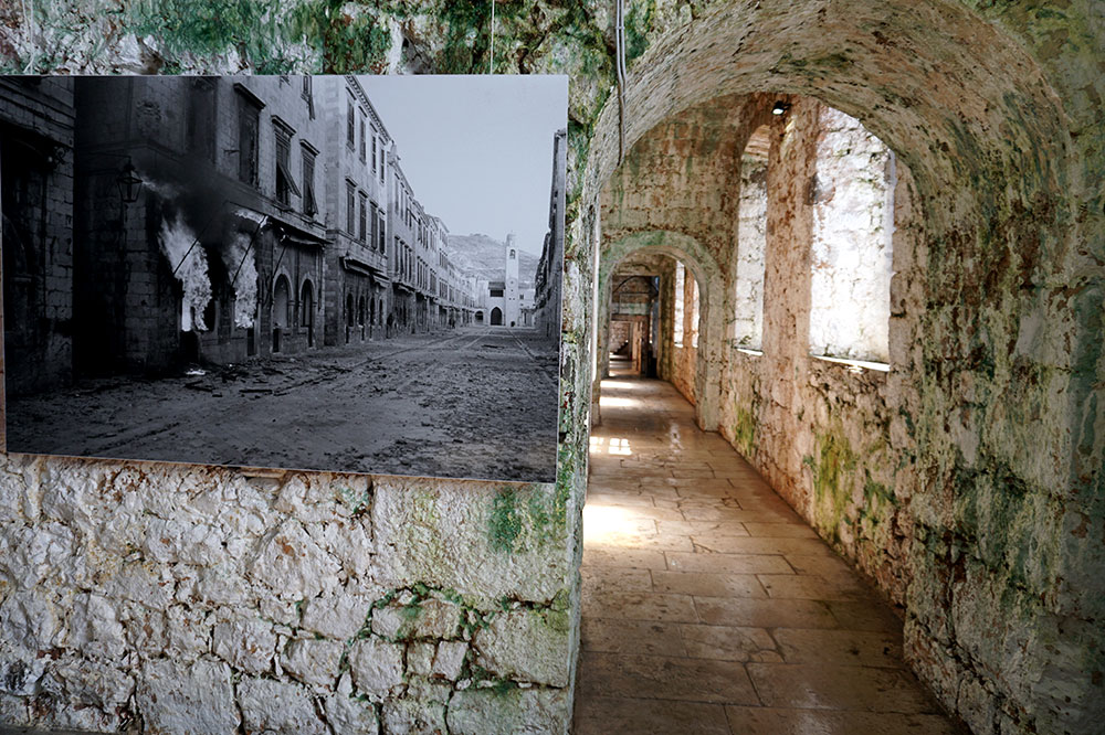 A photo of war-damaged Dubrovnik in the Museum of Croatian War of Independence, housed in an old fortress