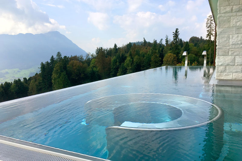 Heated outdoor pool at Villa Honegg - Photo by Hideaway Report editor