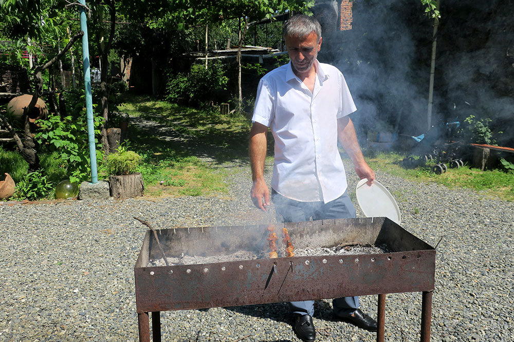 Pork skewers being barbecued by our driver, Bakur, at the Old Vine Family Cellar