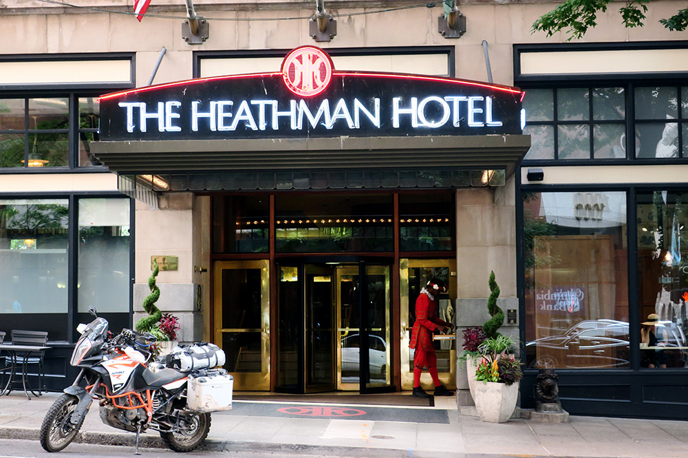 The entrance of The Heathman Hotel in Portland, Oregon - Photo by Hideaway Report editor