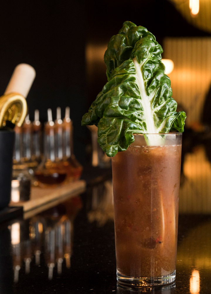 The Powderfinger, combining New York farmstead vodka, Swiss chard, strawberry juices, aged balsamic and pink peppercorns, at <em>aRoqa</em> in New York City - Evan Sung