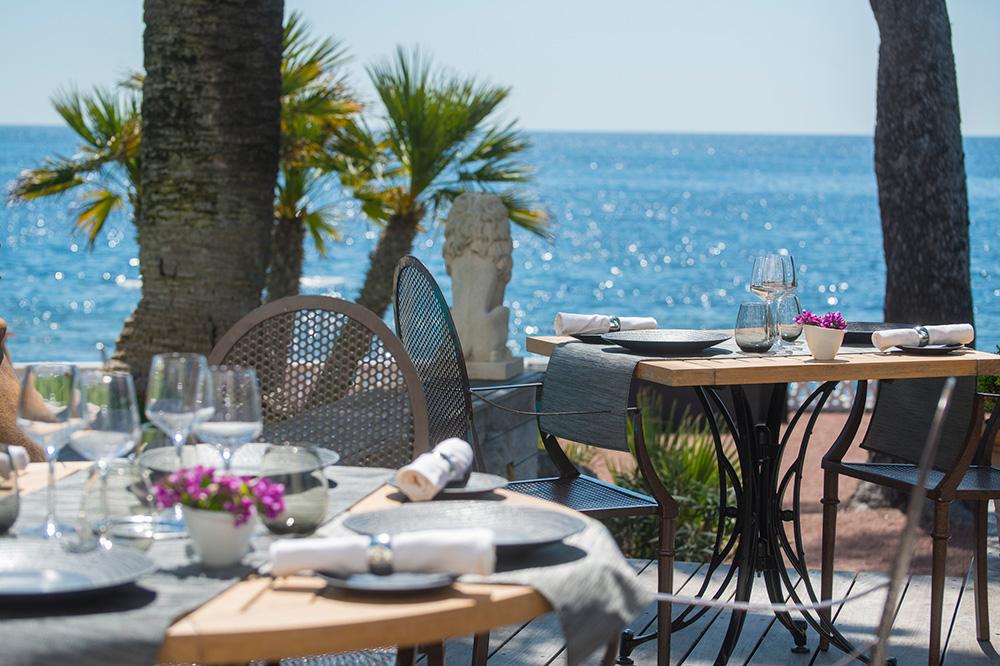 The terrace of <em>Le Bougainvillea</em> at La Villa Mauresque in Saint-Raphaël, France