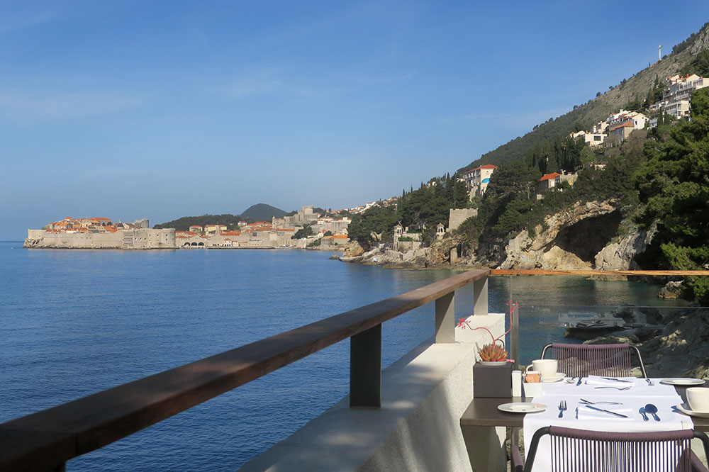 The terrace of <em>Restaurant Pjerin</em> at Villa Dubrovnik in Dubrovnik, Croatia