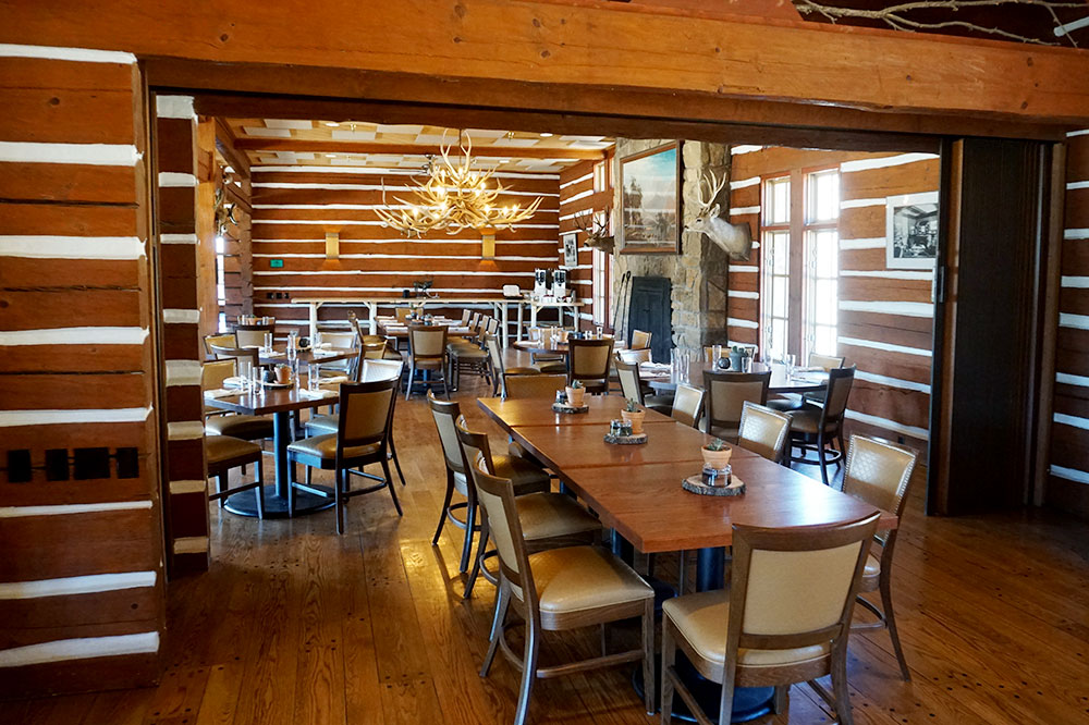 The interior of the restaurant at Vermejo Park Ranch