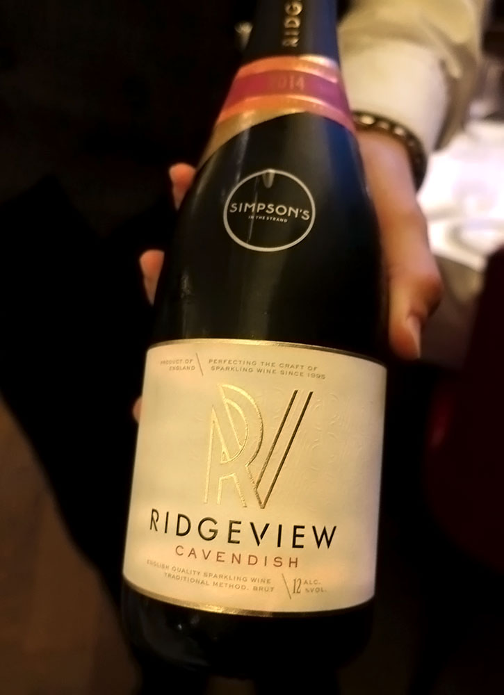 A bottle of Ridgeview Cavendish Brut from Simpson's in the Strand in London - Photo by Hideaway Report editor
