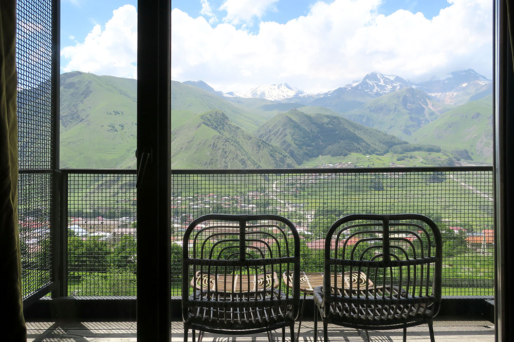 The terrace off our Signature Room at Rooms Hotel Kazbegi in Stepantsminda