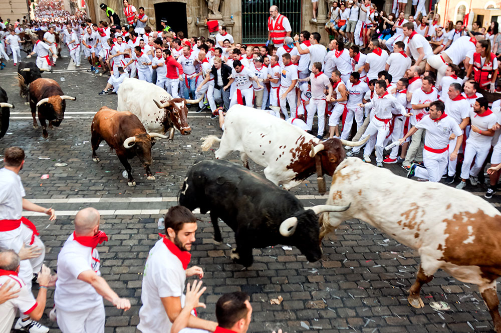The running of the bulls at San Fermín Festival in Pamplona, Spain