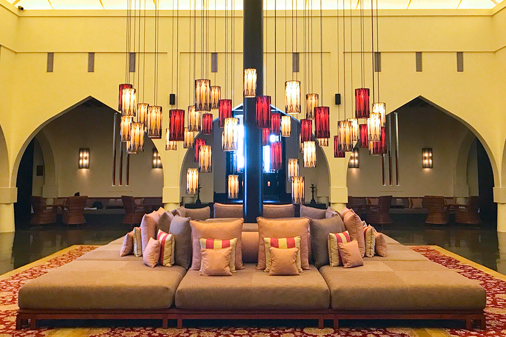 A seating area in the lobby and lounge, The Chedi Muscat, Muscat, Oman - Photo by Hideaway Report editor