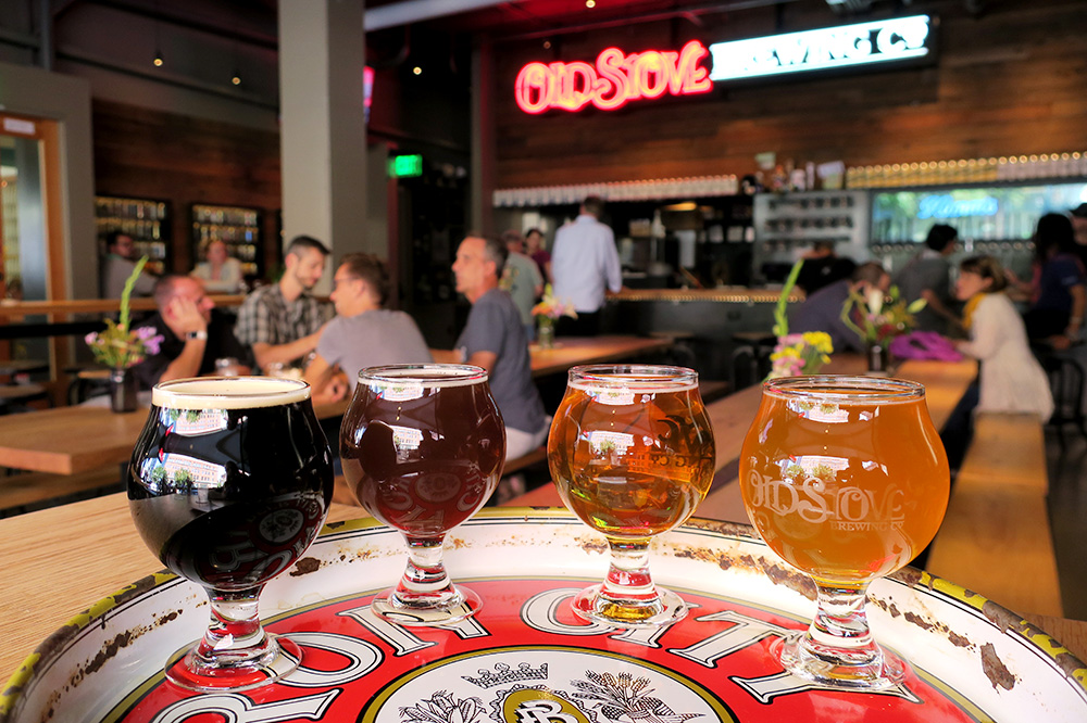A beer flight from Old Stove Brewing Co. in Seattle