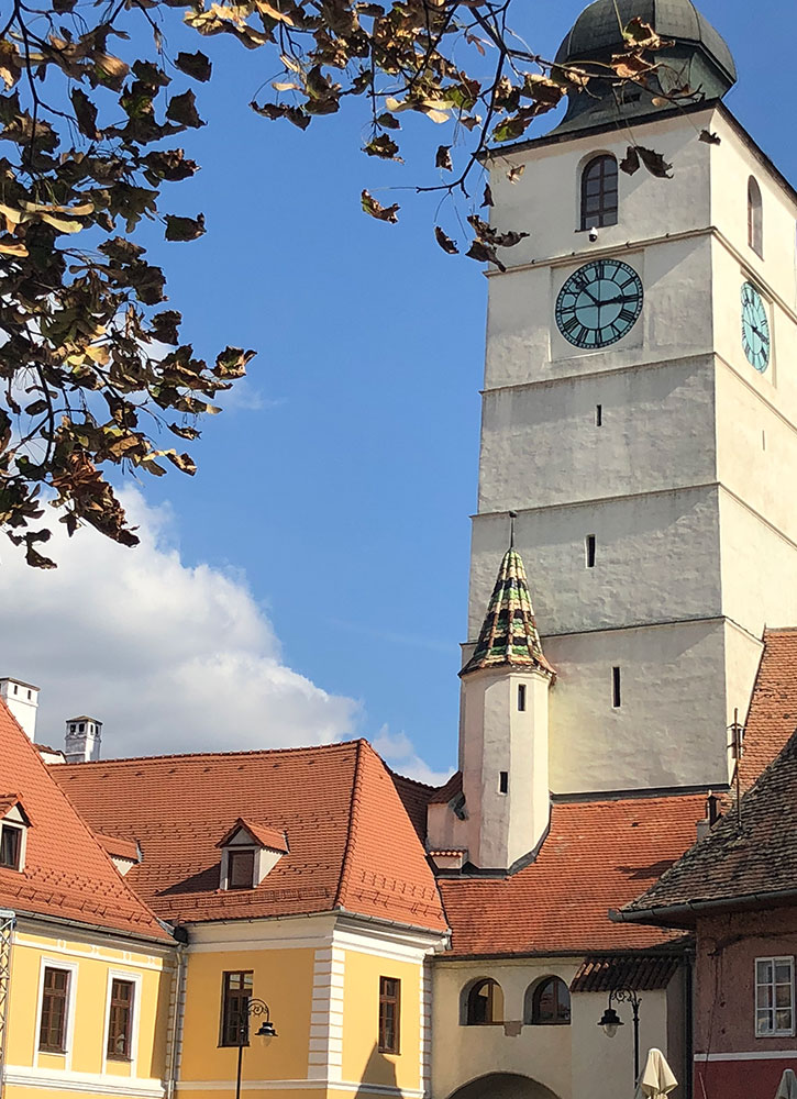 A clock tower in Sibiu, Romania - Photo by Hideaway Report editor