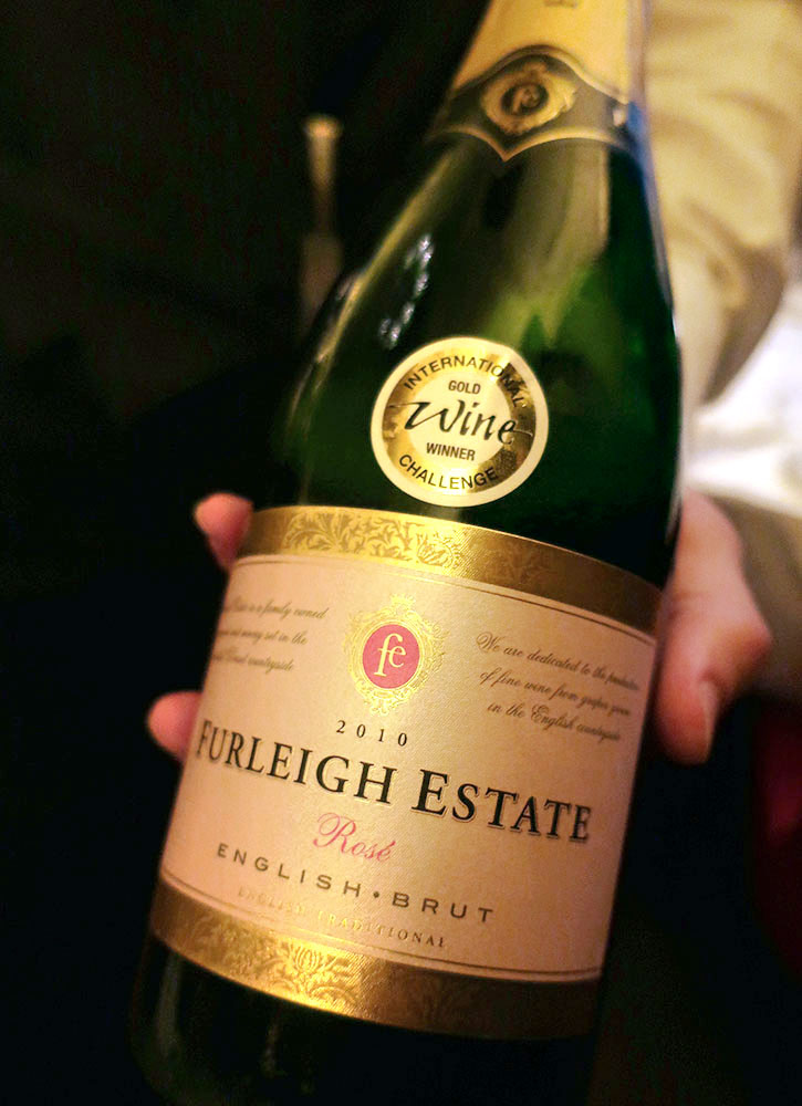 A bottle of Furleigh Estate Brut Rosé at Simpson's in the Strand in London - Photo by Hideaway Report editor
