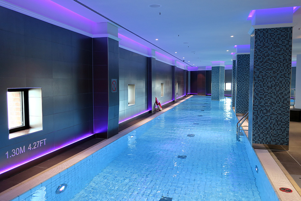 The indoor pool at the spa at Weissenhaus Grand Village Resort in Weissenhaus, Germany - Photo by Hideaway Report editor