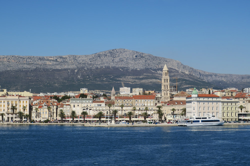 View of the Split waterfront from the ferry to Korčula
