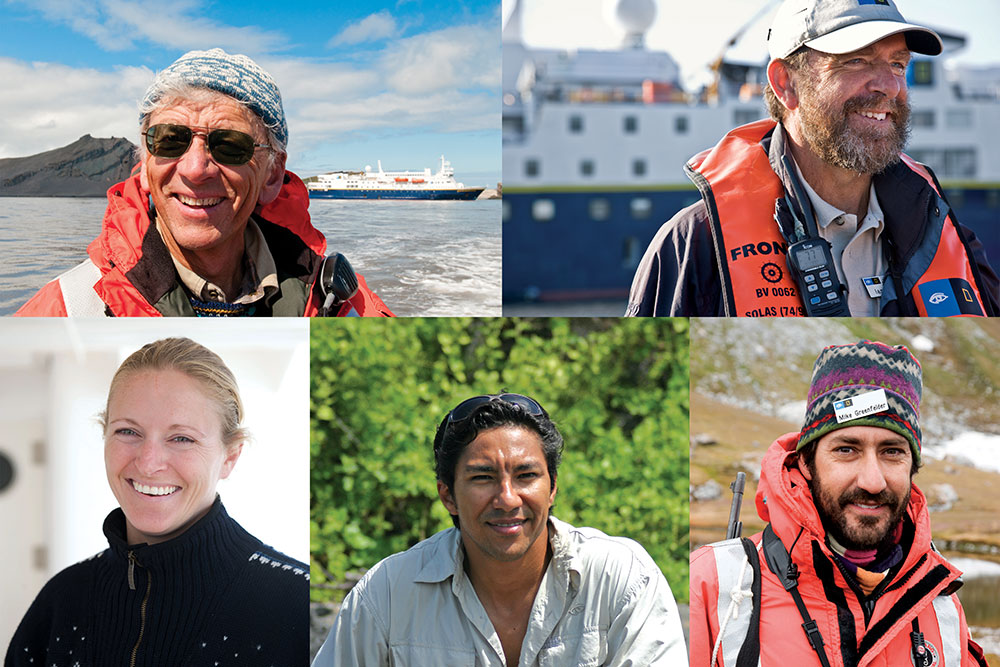 Staff and crew on the <em>National Geographic Explorer</em>, clockwise from top left: Bud Lehnhausen (Lindblad Expeditions © Sven-Olof Lindblad); Ian Bullock (Lindblad Expeditions © Stewart Cohen/Dream Pictures); Mike Greenfelder (Lindblad Expeditions © Stewart Cohen/Dream Pictures); Lucho Verdesoto (© Lindblad Expeditions); Lisa Kelley (Lindblad Expeditions © Sisse Brimberg & Cotton Couls)