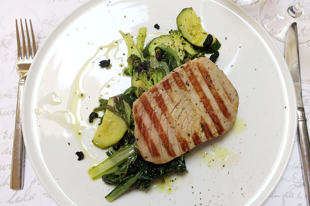 Tuna steak with broccoli, chard, fennel, capers, baked olives and samphire from <em>Restaurant Stara Loza</em>