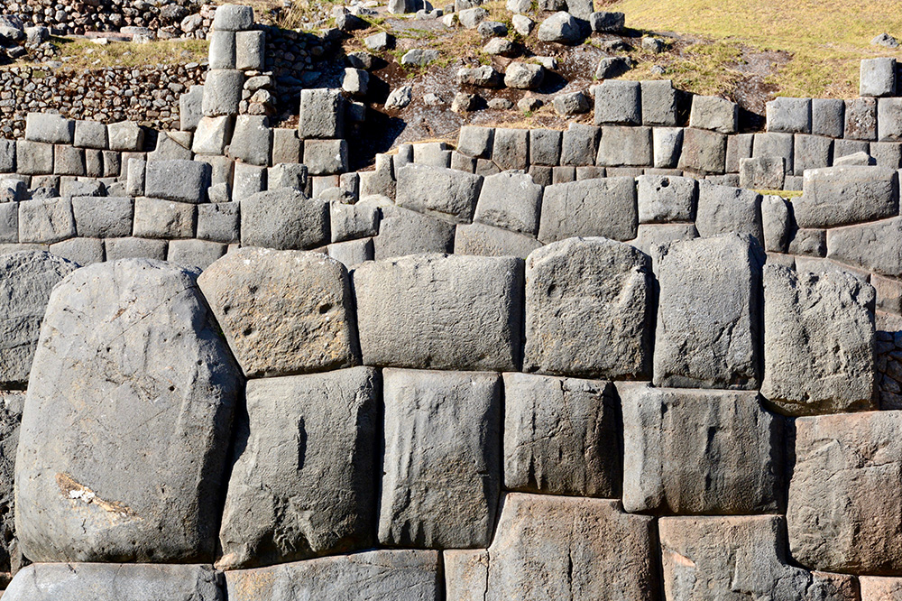 The stones of the Inca ruins of Sacsayhuaman in Cusco, Peru