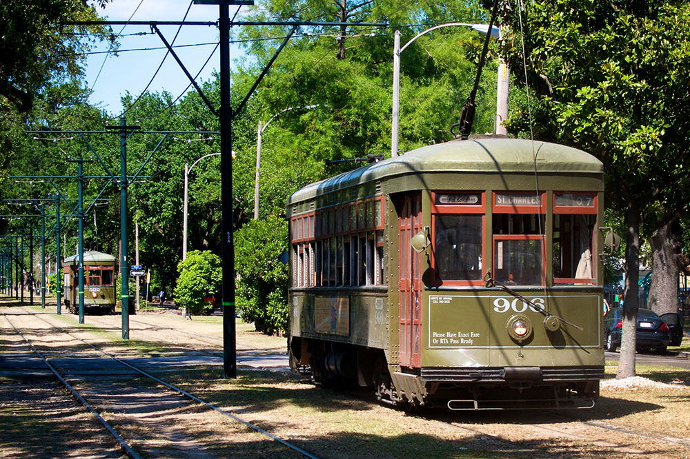 A streetcar on the St. Charles Avenue line