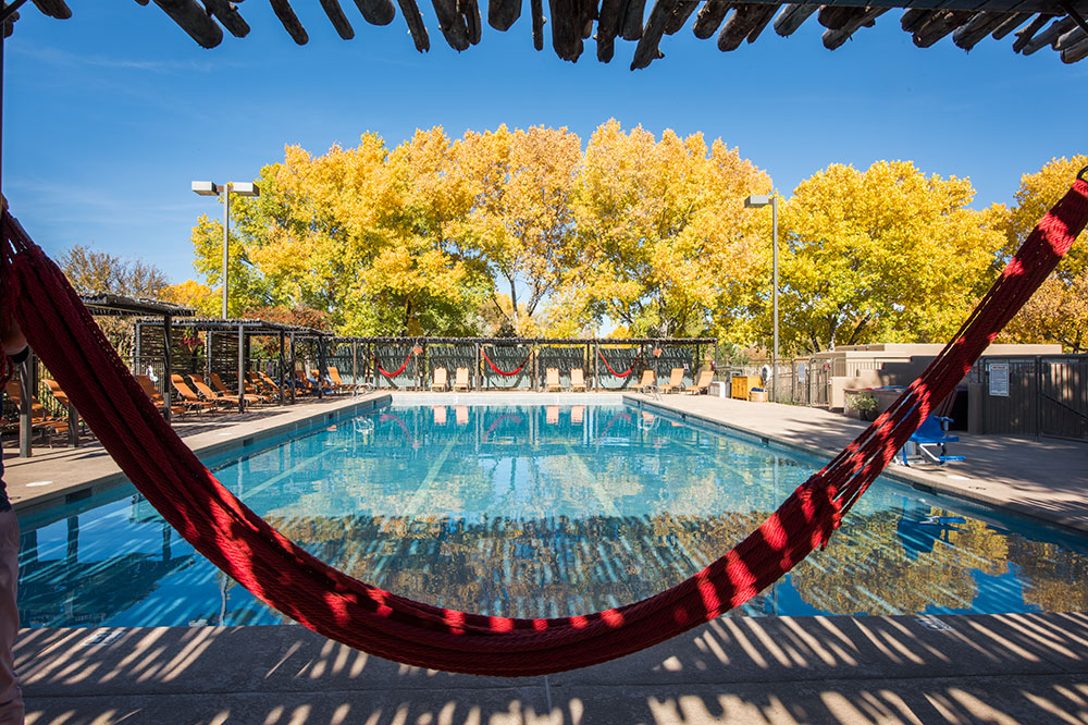 Hammocks by the pool at Sunrise Springs Spa Resort in Santa Fe
