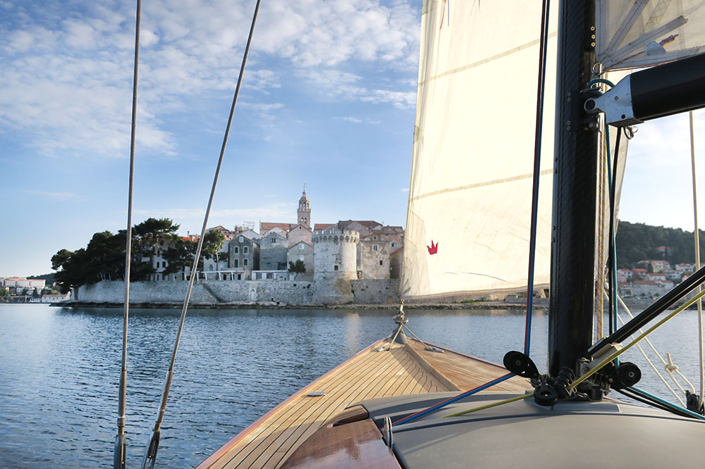 View of Korčula from the sailboat of Lešić Dimitri Palace