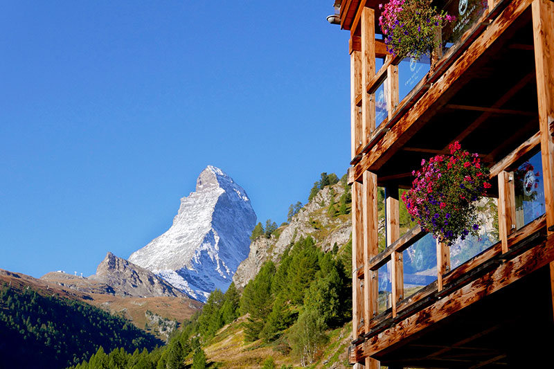View of the Matterhorn from our terrace at Coeur des Alpes - Photo by Hideaway Report editor