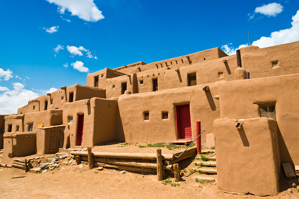 The Taos Pueblo, made of mud and straw and surrounded by 20-foot-high adobe walls, in Taos