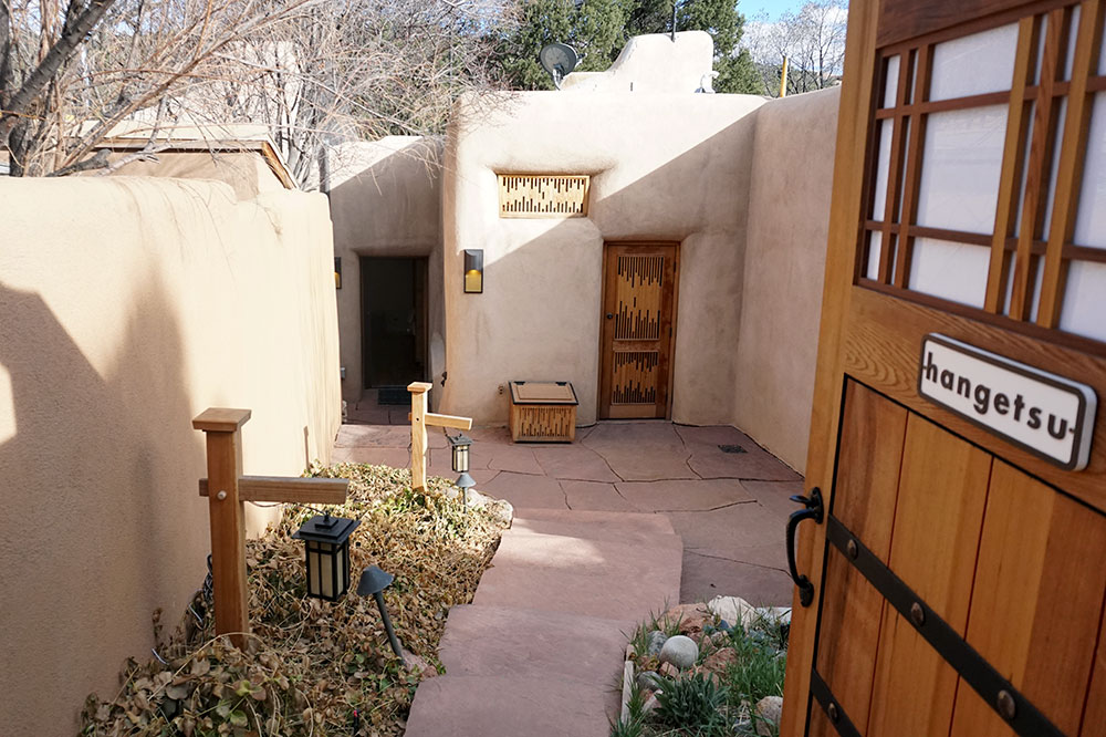 The entrance to our Hangetsu room at Ten Thousand Waves in Santa Fe
